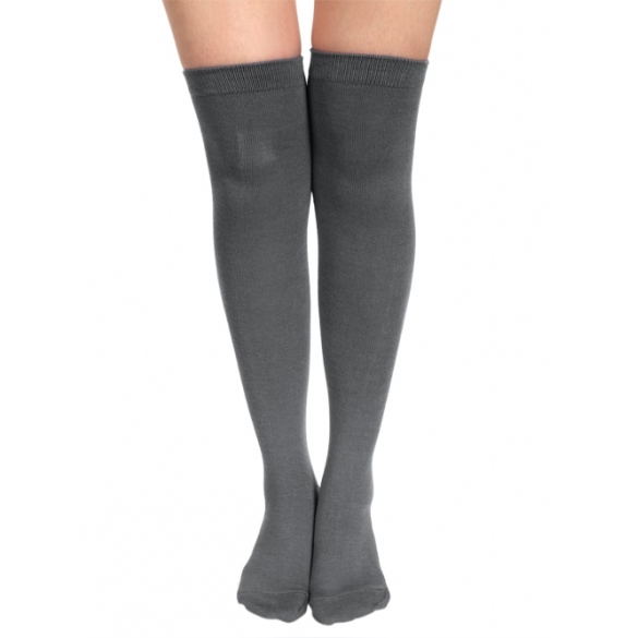 Zeogoo Sexy Women Girls Solid Opaque Over Knee Thigh High Stockings Socks