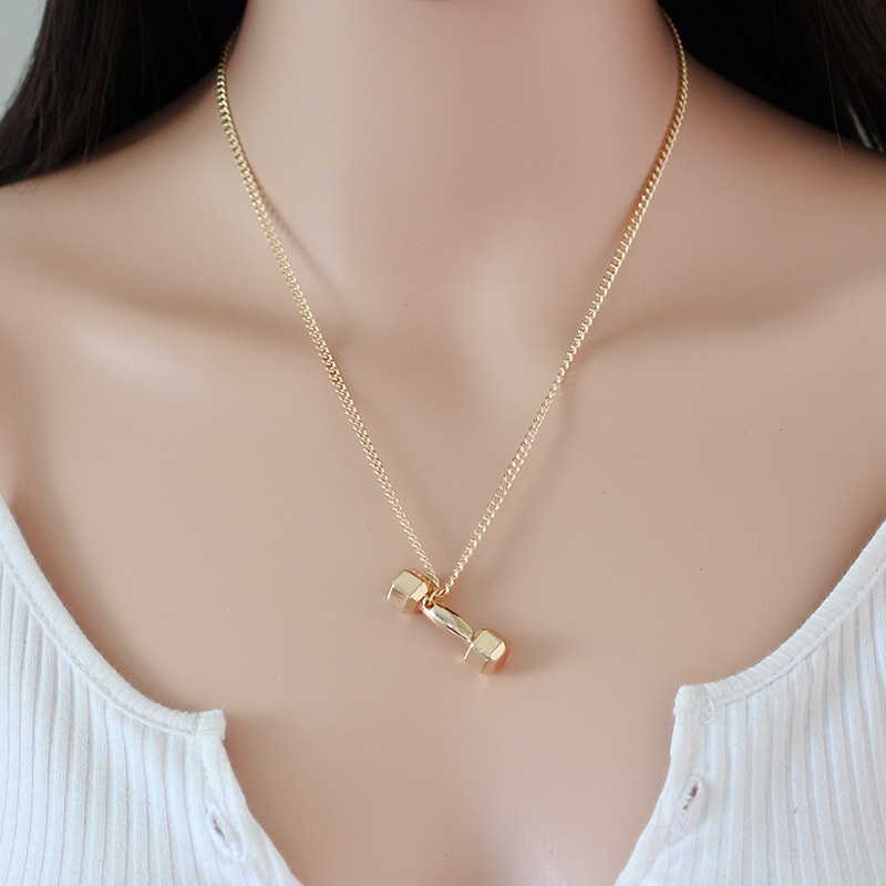 Exquisite alloy dumbbell barbell Pendant Necklace
