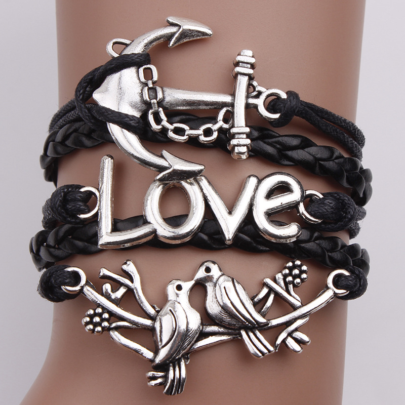 Lovebirds Anchor Multielement Fashion Bracelet