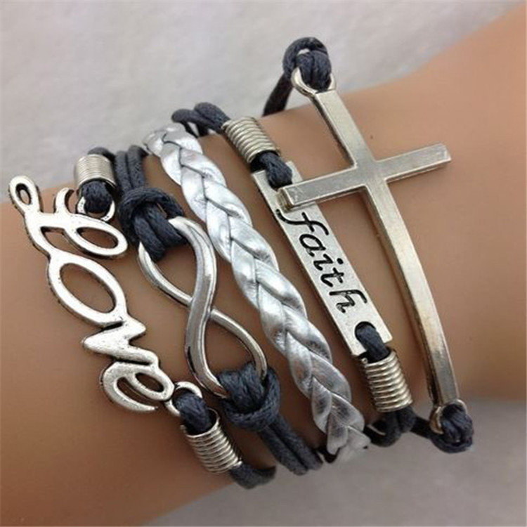 Love 8 Cross Fashion Leather Cord Bracelet