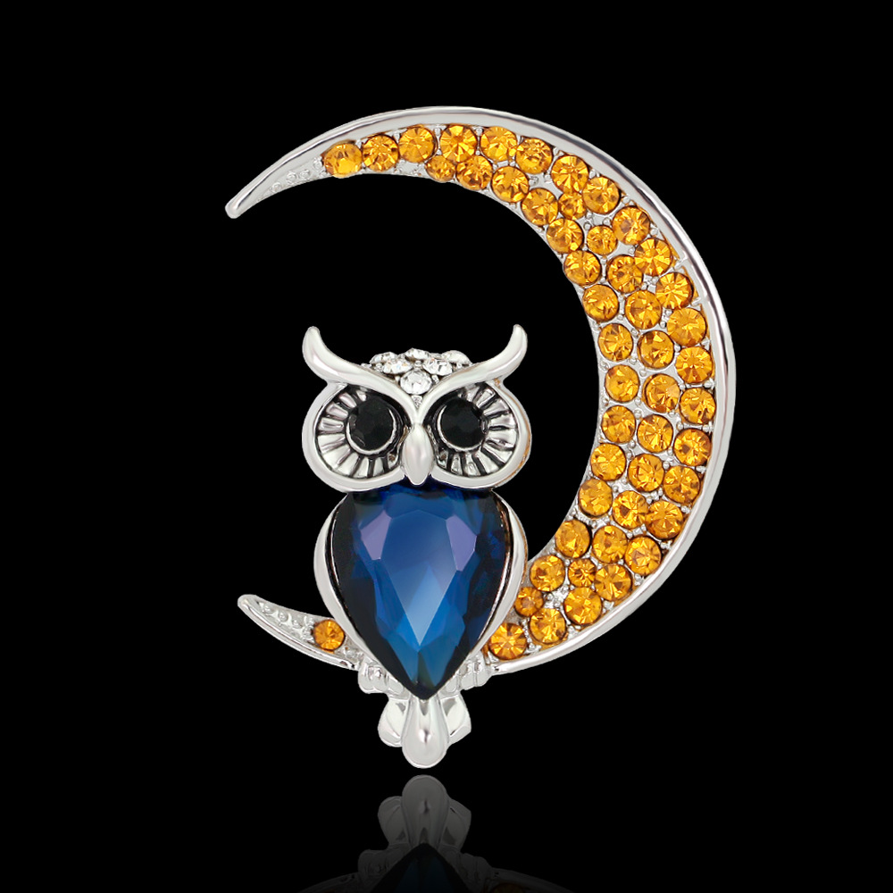 Beautiful Owl Moon Diamond Brooch