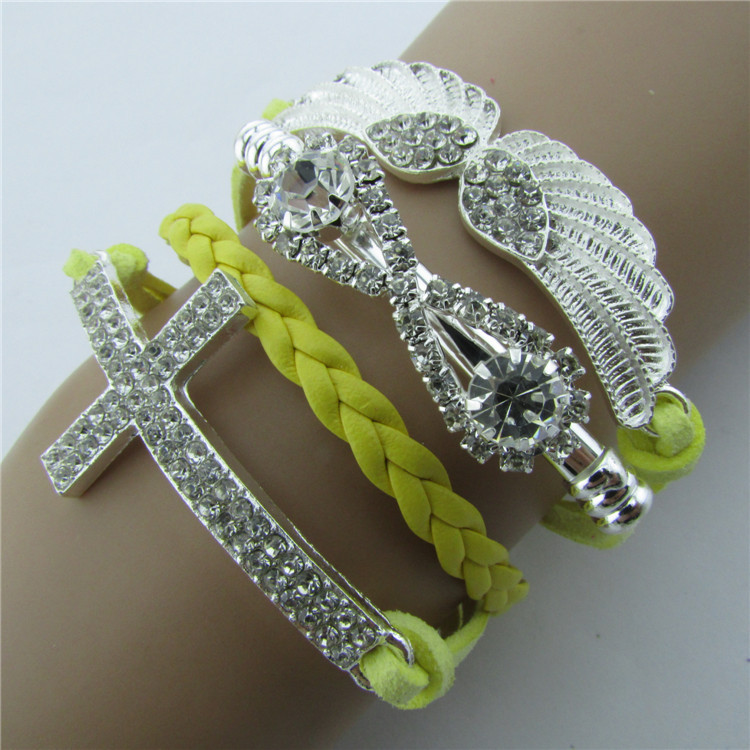 Retro Crystal Angel Wings Cross Leather Cord Bracelet