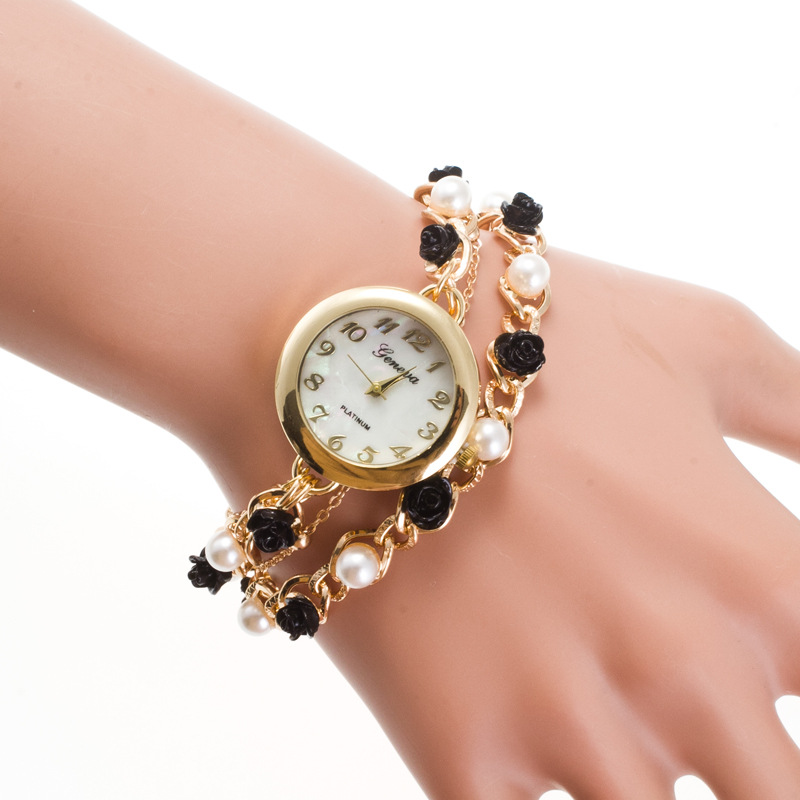 Fashion Pearl Flower Ladies Watch