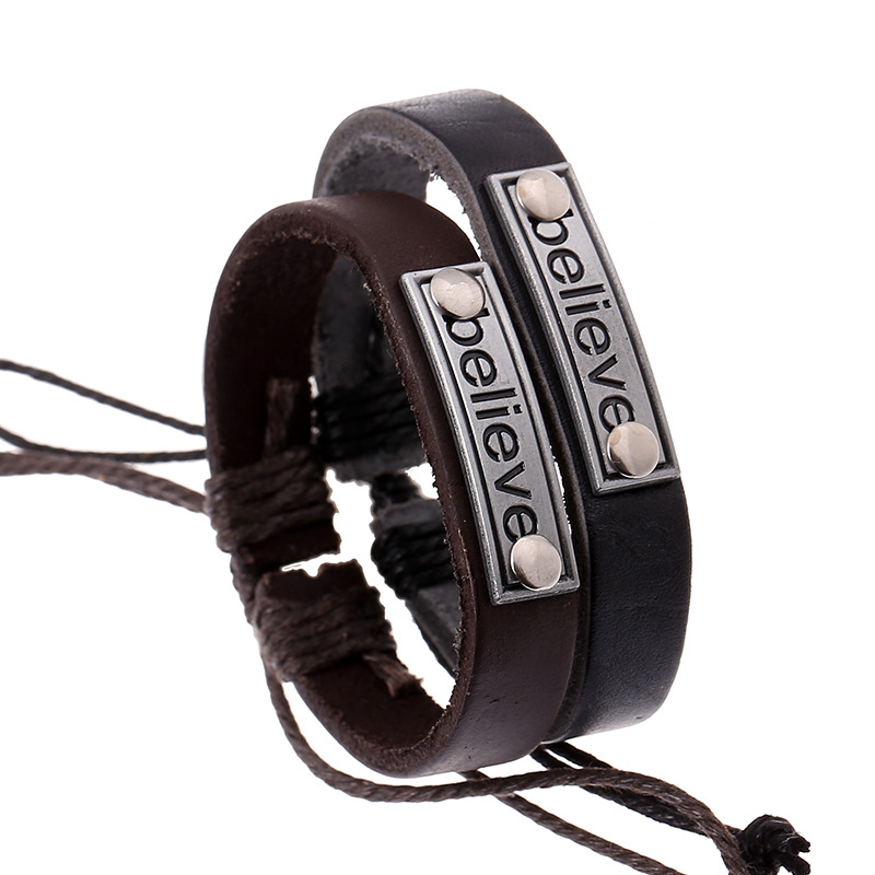 Fashion Believe Leather Couples Bracelet