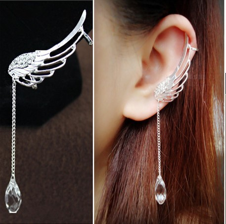 Fashion Long Crystal Wings Tassel Single Earrings