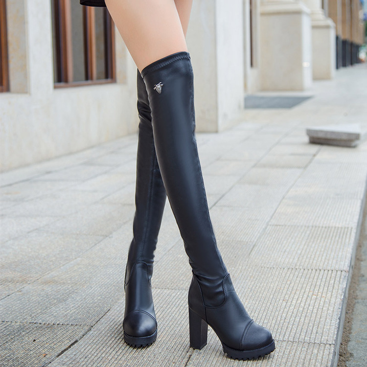 Black Elastic Over Knee Chunky Heel Boots