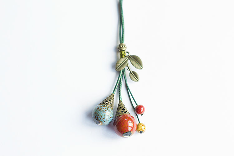 Fall fruit red bead leaf ceramic Necklace