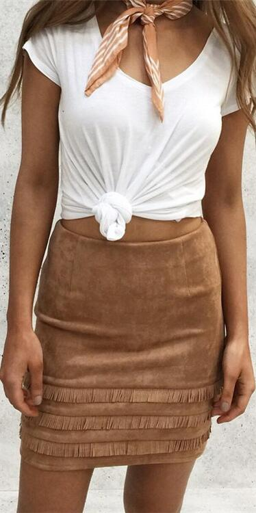 Suede Tassel Patchwork Slim Bodycon Short Skirt