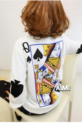 Whimsy Of Playing CARDS Personality Loose Blouse