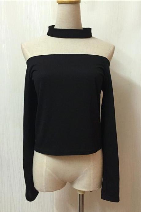 Sexy Backless Off Shoulder Long Sleeve Crop Top