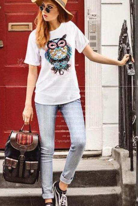 Fashion Sequins Embroidery Cotton Short Sleeve T-shirt