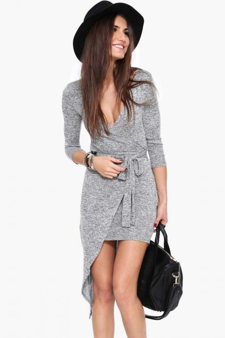 Irregular Sexy Long Sleeve Pendulum Gray Dress