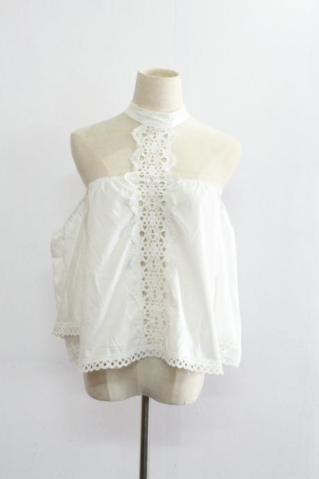 Summer Sexy Cold Shoulder White Lace Blouse
