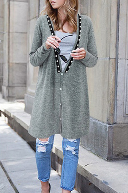 Deep V-Neck Loose Nail Bead Long Sleeve Coat
