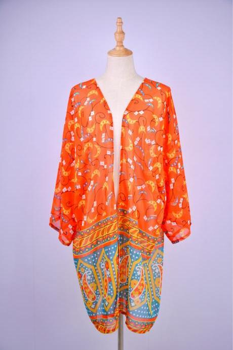 Chiffon Orange Short Beach Bikini Cover Ups