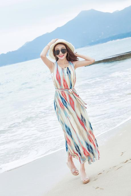 Bohemia Stripe Sleeveless Chiffon Long Beach Dress