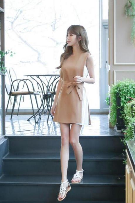 Fashion Temperament Fake Two Piece Thin Splicing Dress
