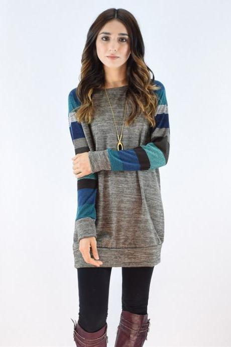 Round Collar Stripe Raglan Long Sleeves Dress