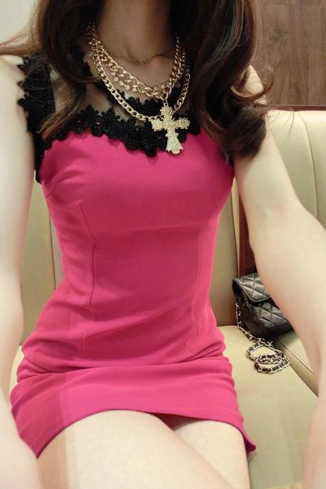 Sexy Temperament Pure Color Sleeveless Bodycon Dress