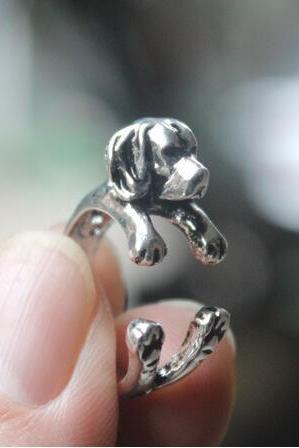 Hot Style Open Animal Retro Black Dog Ring