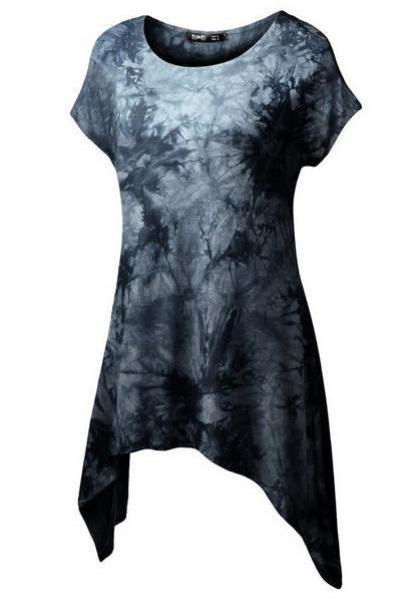Scoop Print Short Asymmetric Sleeves T-shirt