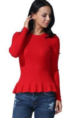 Scoop Lotus Pure Color Long Sleeves Knit T-shirt