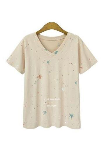 V-neck Print Short Sleeves Cutton Loose T-shirt