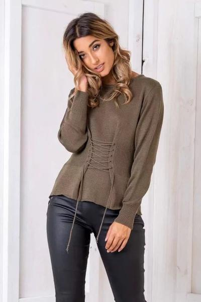 Scoop Pure Color Long Sleeves Straps Slim Sweater