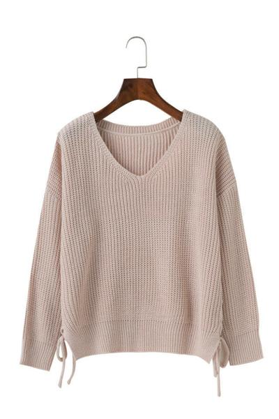 Straps V-neck Pure Color Long Sleeves Lace UP Sweater