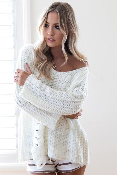 Pure Color V-neck Long Sleeves Cut Out Sweater