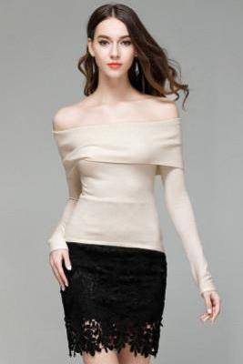 Pure Color Off Shoulder Long Sleeves Slim Sweater