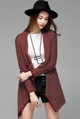 Patchwork Irregular Long Sleeves V-neck Regular Cardigan