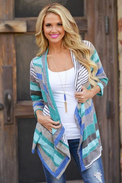 Stripes Long Sleeves V-neck Irregular Cardigan