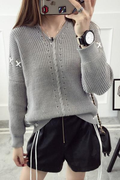 Pure Color Long Sleeves Lace Up V-neck Pullover Sweater