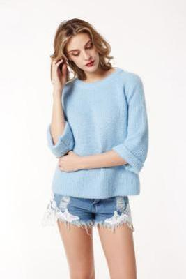 3/4 Sleeves Pure Color Scoop Regular Sweater