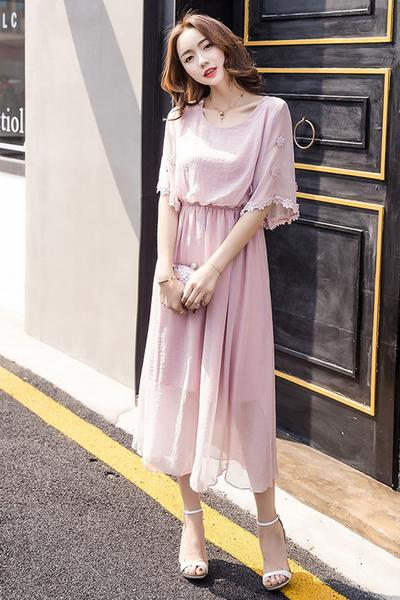 Pure Color Plus Size Chiffon Tee-length Dress
