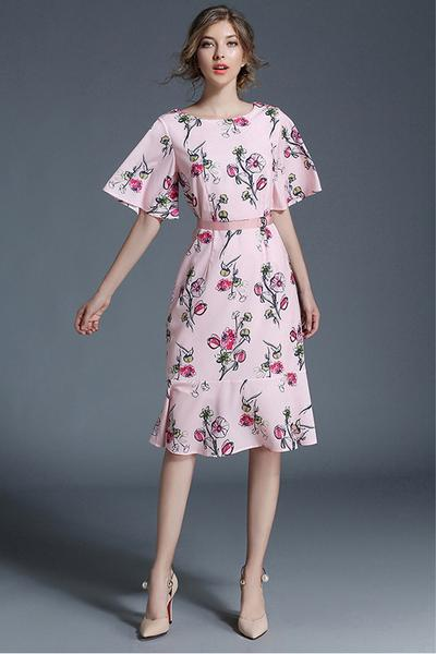 Floral Print Half Sleeves Chiffon Trumpet Sleeves Knee-length Dress