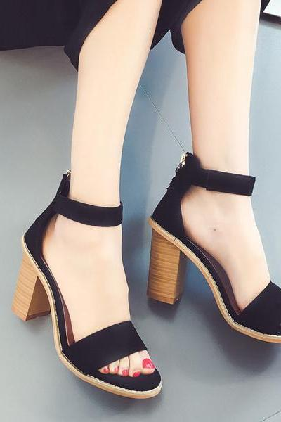 Summer Suede Chunky Heel Peep-toe Ankle Strap Sandals