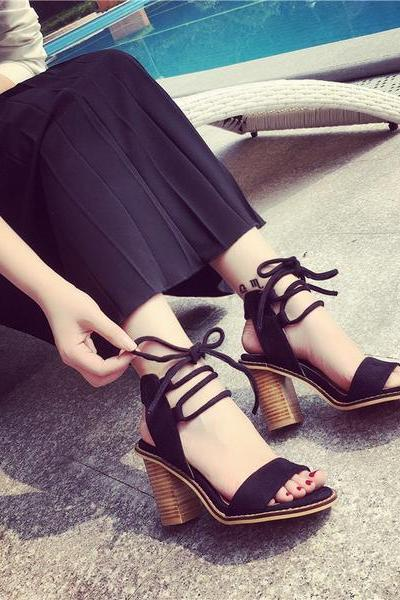 Ankle Straps PU Chunky Heel Peep-toe Sandals