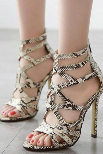 Snake Print Stiletto Heel Ankle Strap Peep-toe Summer Sandals