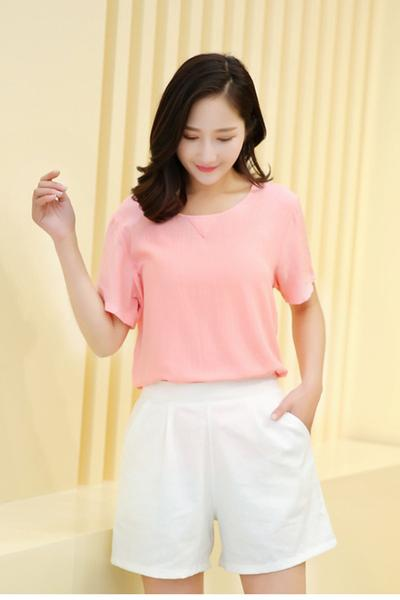 Pure Color High Waist Casual Loose Shorts