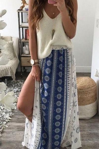Bohemian Beach Loose Split Print Long Skirt