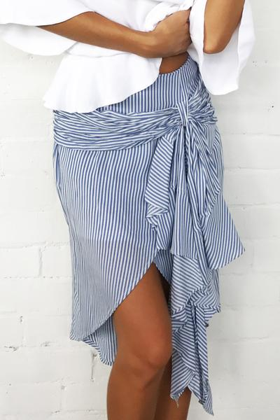 High Waist Striped Straps Bow Tie Loose Short Skirt