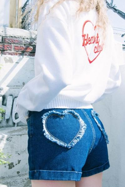 Pure Color Heart Applique Denim Slim Shorts