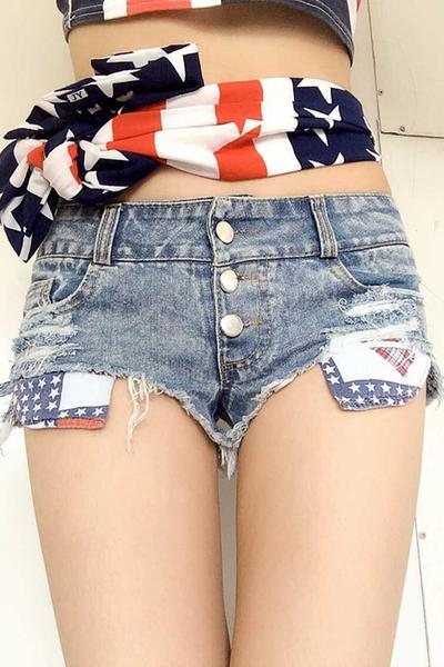 Low Waist Irregular Hole Slim Denim Shorts