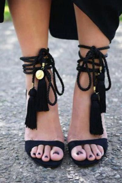 Stiletto Heel Peep-toe Lace Up Tassels Suede Zipper Sandals