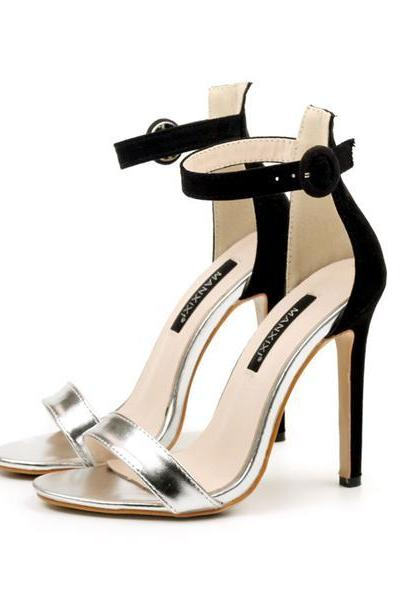 Metallic Two-Tone Open-Toe Ankle Strap Stilettos, High Heels