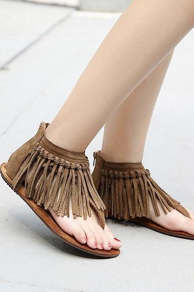Retro Tassels Slip-on Zipper Flat Sandals