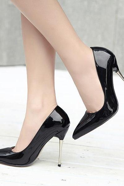 Patent Leather Pointed Toe High Heel Stilettos