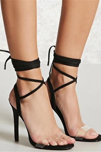 Open Toe Ankle Straps Wraps Transparent Stiletto High Heels Sandals